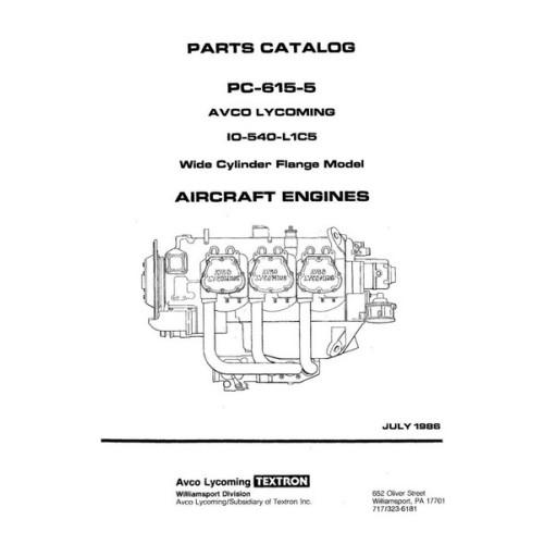 Lycoming IO-540-L1C5 WCFC Model PC-615-5 Parts Catalog 1986