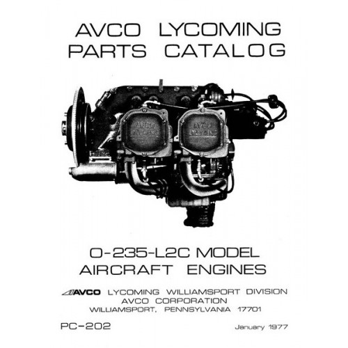 Lycoming O-235-L2C Aircraft Engines PC-202 Parts Manual 1977