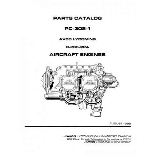 Lycoming O-235-P2A Aircraft Engines PC-302-1 Parts Catalog