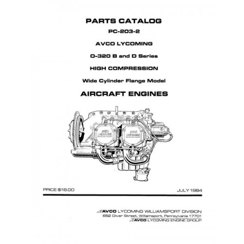 Lycoming O-320 B and D Series Aircraft Engines PC-203-2