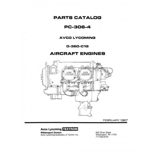 Lycoming O-360-C1G Aircraft Engines PC-306-4 Parts Catalog