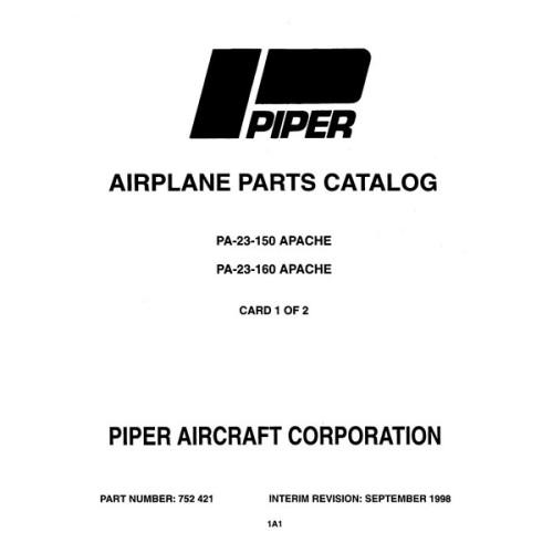 Piper Apache PA-23-160 752-421 Parts Catalog Manual 1973