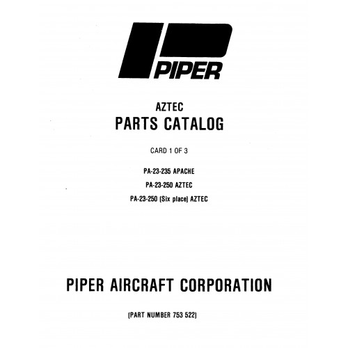 Piper Apache PA-23-235 753-522 Parts Catalog Manual 1972