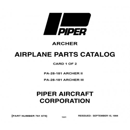 Piper Archer II PA-28-181 761-678 Parts Catalog 1994