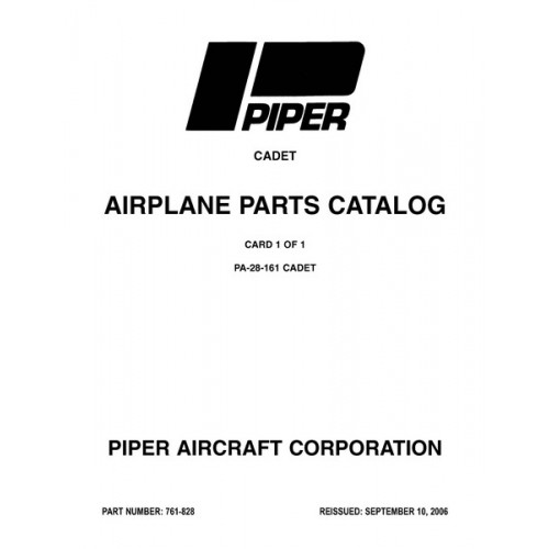 Piper Cadet PA-28-161 761-828 Airplane Parts Catalog 1989