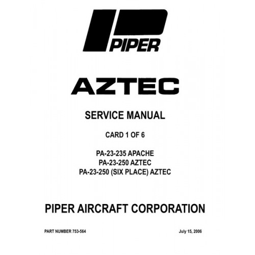 Piper Aztec PA-23-250 753-564 Shop Service Manual 1960