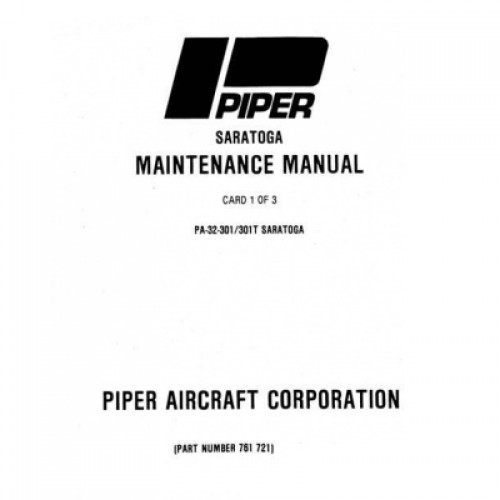 Piper Saratoga Part Number 761-721 Maintenance Manual 1980