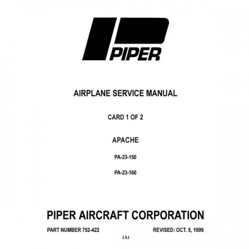 Piper Apache PA-23-150 and PA-23-160 752-422 Shop Service