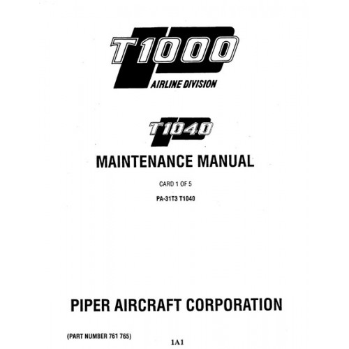 Piper T1040 PA-31T3 761-765 Service Maintenance Manual