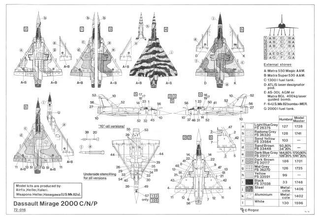 Hi-Decal Line decal sheet 72016 Mirage 2000