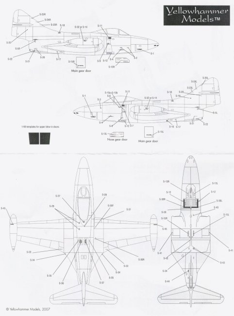 review YellowHammer 1/48 F9F PAnther decal sheet YHD48039