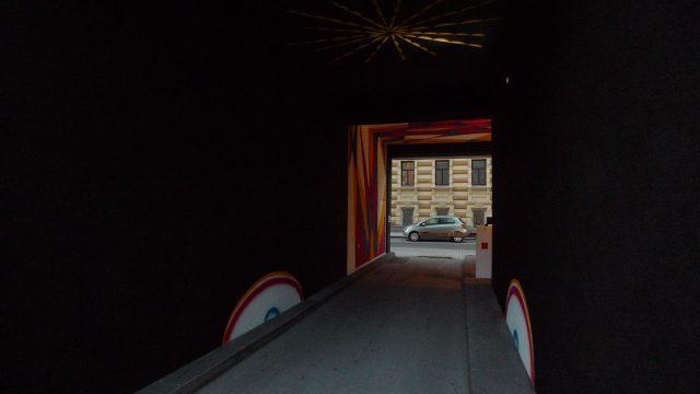 galerie wuensch aircube - wallpainting part II, design by ROGELIO GONZALEZ HARTMANN, Superuniversum, 2008 - done by WURM VISUALS, Linz/A, 2011