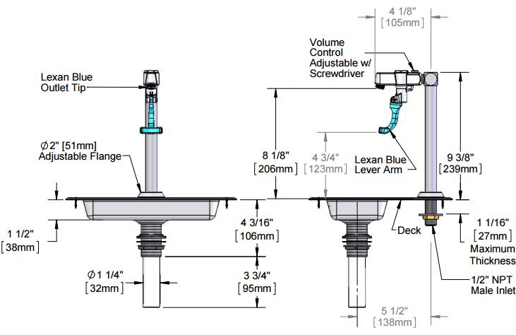 5GF-8P-WS Deck Mount Water Station w/ Retro Glass Filler