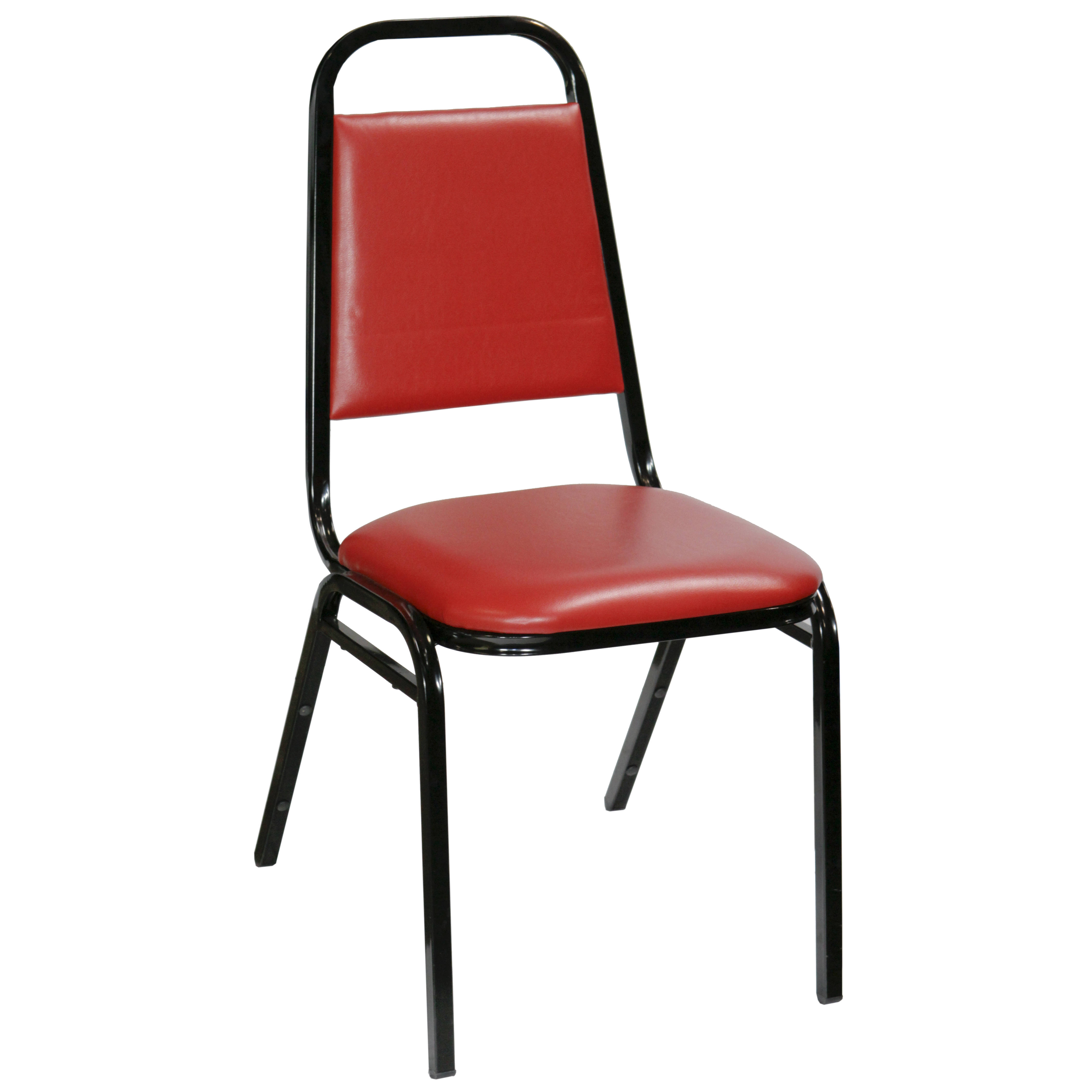 CHAIR  SQUARE BACK STACK  BLACK METAL W RED  Air Designs