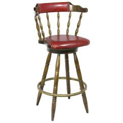 Stool Chair Red Claw Foot Captains Dark Wood W Back Air