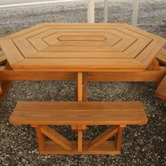 Outdoor Table And Chairs Wood Dining Chair Cushions Non Slip Picnic Tables Air Hill Lawn Furniture Hexagon