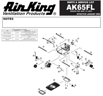 Air King AK65FL Parts