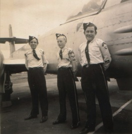 Cadets inspect a Meteor jet fighter during the 1950s