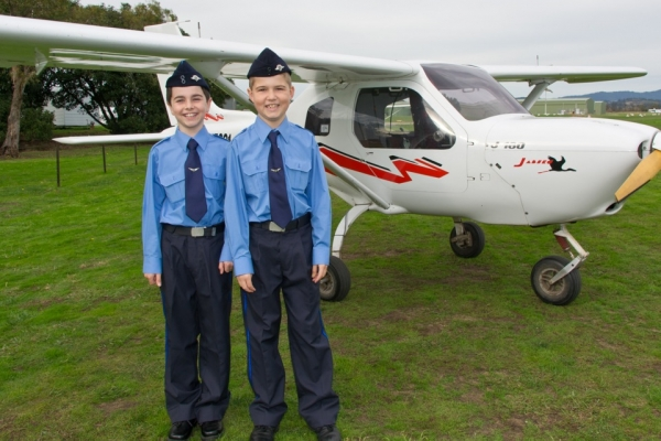 Cadets James Shearwood and Tom Sherwood before their flight