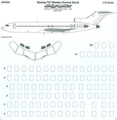 1:72 Silver Window Frames, Boeing 727's