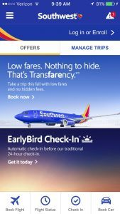 Southwest Airline mobile app homepage