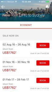 Qantas mobile booking