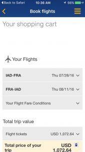 Lufthansa mobile booking