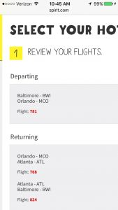 Spirit Airline mobile booking