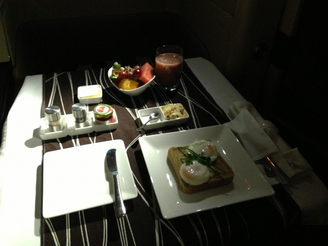 Etihad's First Class pre-landing breakfast. Photo - Jacob Pfleger