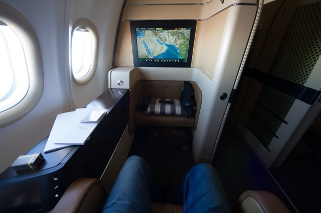 Showing the giant IFE screen and the legroom. Photo - Jacob Pfleger