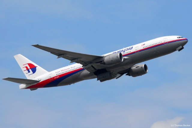 This Boeing 777-200 (reg number: (9M-MRO) is the one in question with Malaysia Flight MH370 - Photo: Thomas Becker