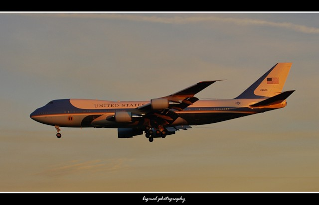 Air Force One arriving into SeaTac on a lovely winter evening.