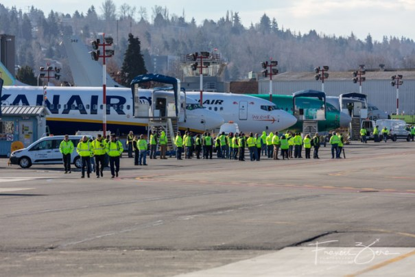 A large contingent of Boeing staff and visitors was on hand to watch the first flight.