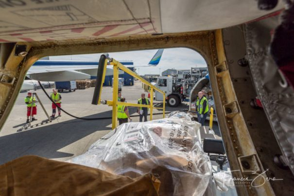 Bags of mail are loaded into the aft belly hold.