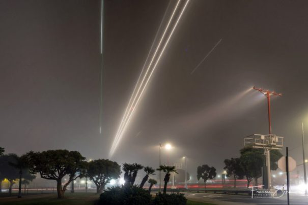 Even when it's foggy, LAX is a fine place to watch airplanes.