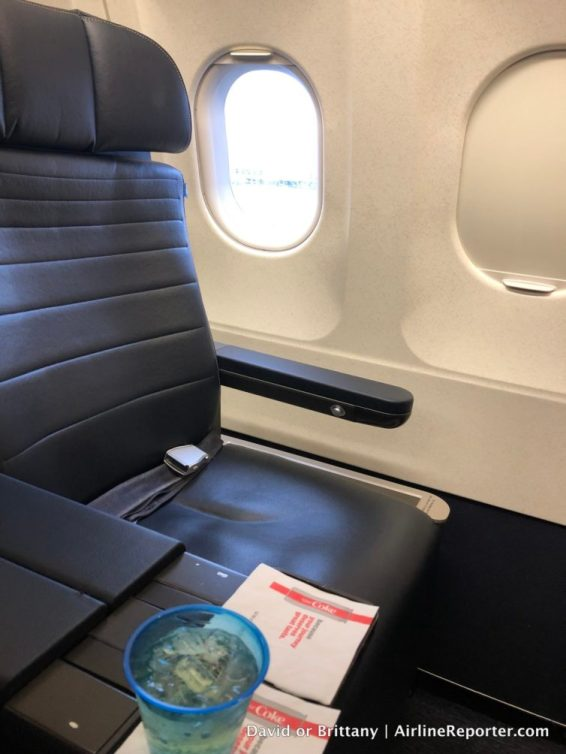 The United First Class seat gives you more room and with a 2:2 layout, less worry about who sits next to you!