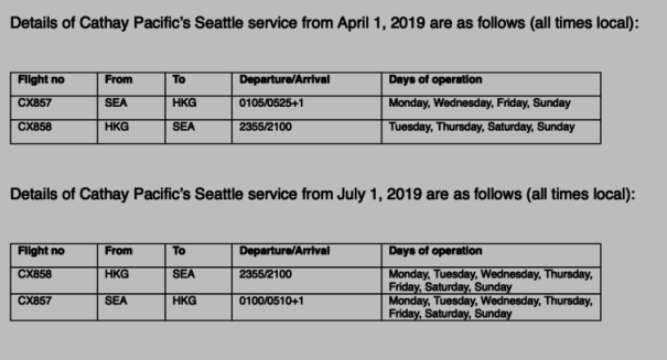 Cathay Pacific's 2019 Seattle flight schedule