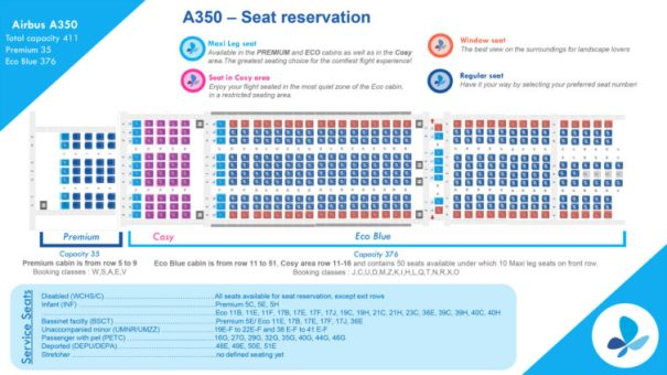 French Bee's A350-900 seat map