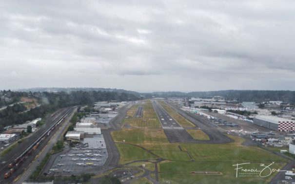 This is a view I'm getting very familiar with - the approach to 14L at BFI (the smaller runway on the left). We're not yet lined up because we were dealing with a crosswind. I was a passenger in a friend's plane for this photo, BTW