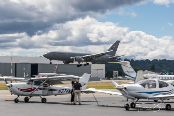 I told you Boeing Field's airspace was busy. That's a USAF KC-46 Pegasus tanker returning from a test flight and a bizjet taxiing to the right; Galvin's ramp is in the foreground.