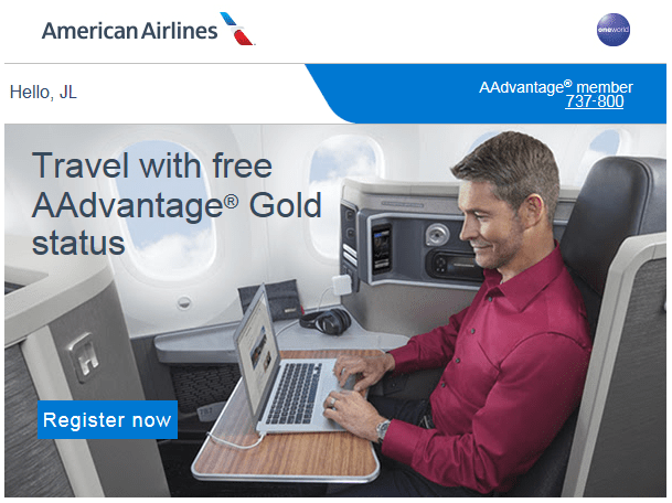 American Airlines Gold Trial Offer. - Image: American