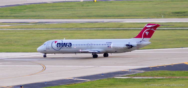 N763NW, a DC-9-41 lines up at St. Louis in September, 2010.