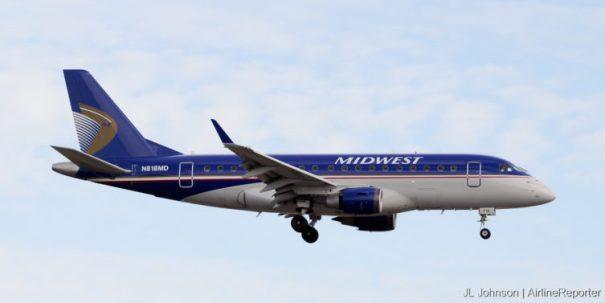 N818MD, an Embraer ERJ-170 seen at Kansas City in November, 2010.
