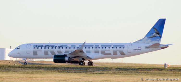 N175HQ, an Embraer ERJ-190 preparing to leave Kansas City International in November, 2010.
