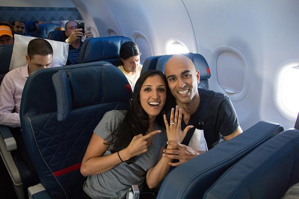 Love is in the air Customer pops question at 30000 feet