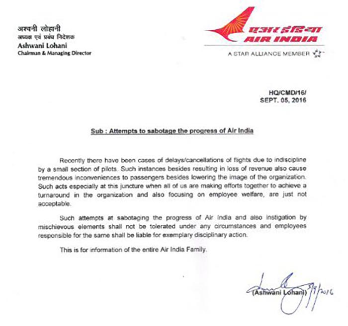 ALERT Air India Publishes Letter To Pilots Attempting