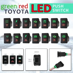 Toyota Hilux Fog Light Wiring Diagram 1954 Chevy Truck 12v Green Red Led Bar Push Switch For 2015 Prado 150 200