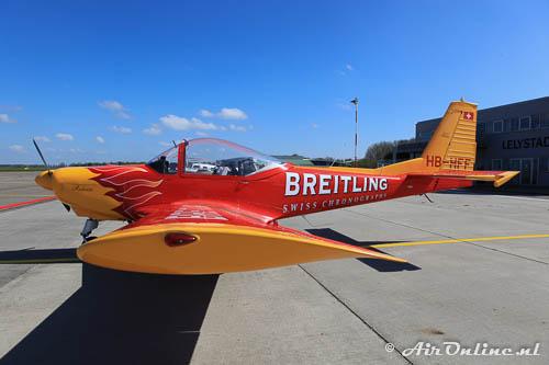 HB-HFF FFA AS.202 Bravo met reclame voor Breitling
