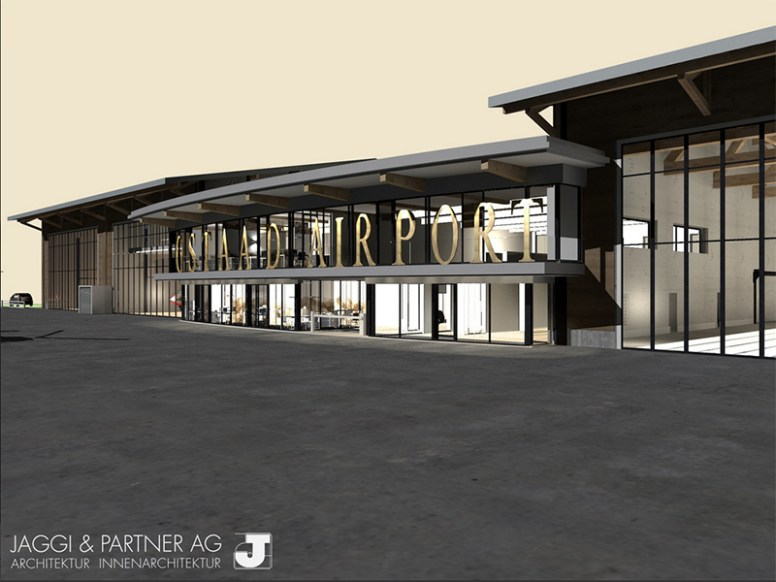 Visual van de nieuwbouw op Gstaad Airport (afbeelding Gstaad Airport AG)