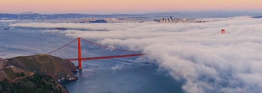San Francisco, Golden Gate Bridge in the Fog - AirPano.com • 360 Degree Aerial Panorama • 3D Virtual Tours Around the World